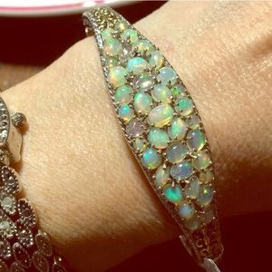 Fire opal 925 sterling cuff filigree bracelet NWOT